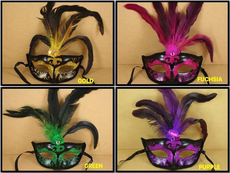 ff1b243d FANCY Mardi Gras Feathered Plastic GLITTER MASK Choose Color | Etsy