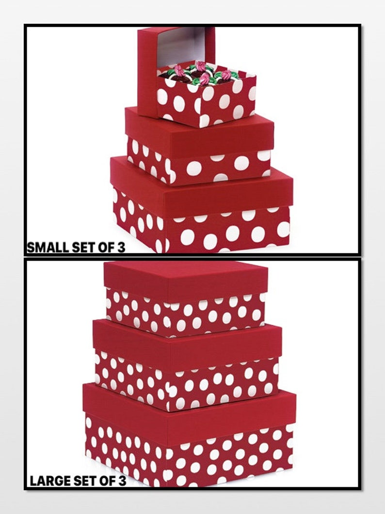 Polka Dot Red Nested Boxes 3 Piece Square Gift Boxes Set CHOOSE Small Set or Large Set