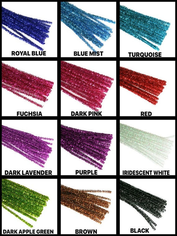 "50 Tinsel Mettalic 12/"" Chenille Pipe Cleaners-SAVE Shipping"