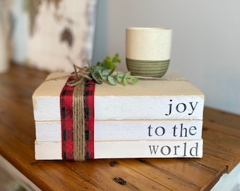 Joy To The World Book Stack- Christmas Decor for fireplace mantle, rustic holiday decorations, White books stamped, White and Red Christmas