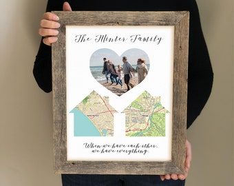 Christmas Gifts for Parents- Framed Print for Mom, Long Distance Family Map Gift, Sentimental Gifts, Map with Family Picture, Dad Gifts
