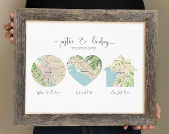 Map Wedding Gift- Groom Gift from Bride, Personalized Gift for Husband, Anniversary Gift for Wife, Closing Gift for Wife, Gift for Bride