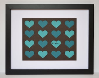 Personalized Gift for Newlyweds, Wedding Shower Gift, Customized Wall Decor for Couples, Hearts, Personalized Framed Art, First Anniversary