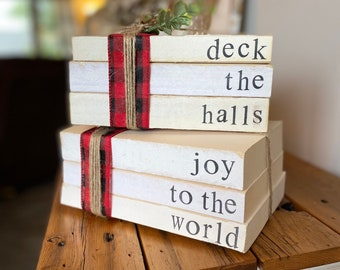 Christmas Tiered Tray Decoration- Stack of Books, Hostess Gift for Christmas Party, Personalized Stamped books, Christmas Books, Centerpiece