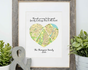 Mother's Day Gift, Gift for Mom, Gift for Her, Personalized Map Print, Long Distance Family Ideas, Framed Heart Map Art, Gift for Grandma