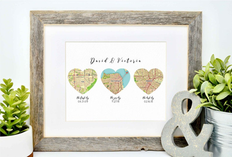 Unique Wedding Gift for Couple Map Heart Art Heart Map image 0