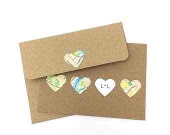 Handmade Matching Card for Map Prints