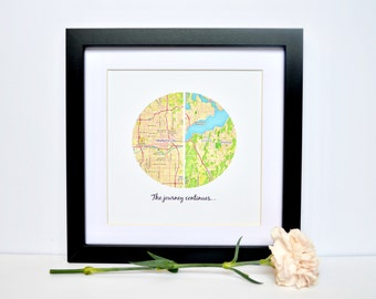Personalized Graduation Gift- Unique Gift for graduate, The Journey Continues, Custom Map Print, Gift for Niece, Moving Gift, Relocating