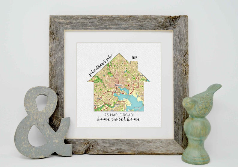 Housewarming Gift Our First Home House Map First Home Gift image 0
