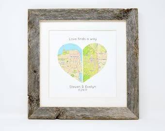 Long Distance Relationship- Gift for boyfriend, Gift for Girlfriend, Love Finds a Way, Long Distance Love, Personalized Map Print, Heart ,TP