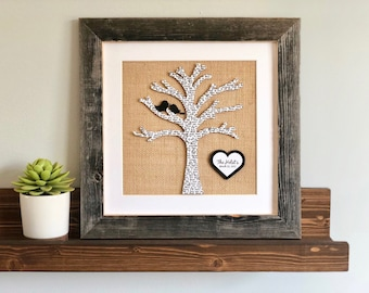 Tree Silhouette with Birds for Newlyweds, Framed Family Tree, Wedding Gift for Niece, Personalized Farmhouse Decor, First Dance Song