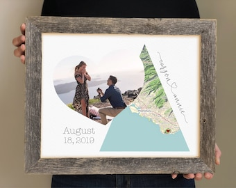 Engagement Gift for Daughter, Gift for Son, Engagement Party Display, Personalized Map Picture Frame, She said Yes, Where it all began, love