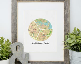Father's Day Gift, Gift for Dad, Gift for Him, Personalized Map Print, Long Distance Family Ideas, Gift for Step-dad, Gift for Grandpa