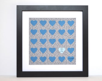 Wedding Vow Display- Wedding Date Gift, First Anniversary Gift, Gray and Blue, Framed Wedding Vow Keepsake, Last Name Gift, Paper Hearts