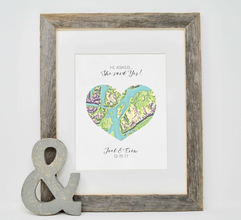 Personalized Engagement Gift  Where it all began map print image 0