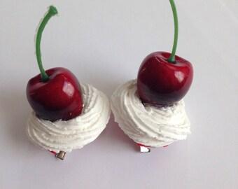 Cherry Cream Swirl Shoe Clips