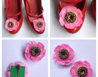Chocolate Donut Shoe Clips