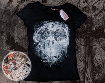 XLarge -- Limited Edition Black Gothic/Emo Glow-in-the-Dark Owl Skull Edgar Allan Poe Quote Screen-printed Womens Skinny Fit Tee Tshirt