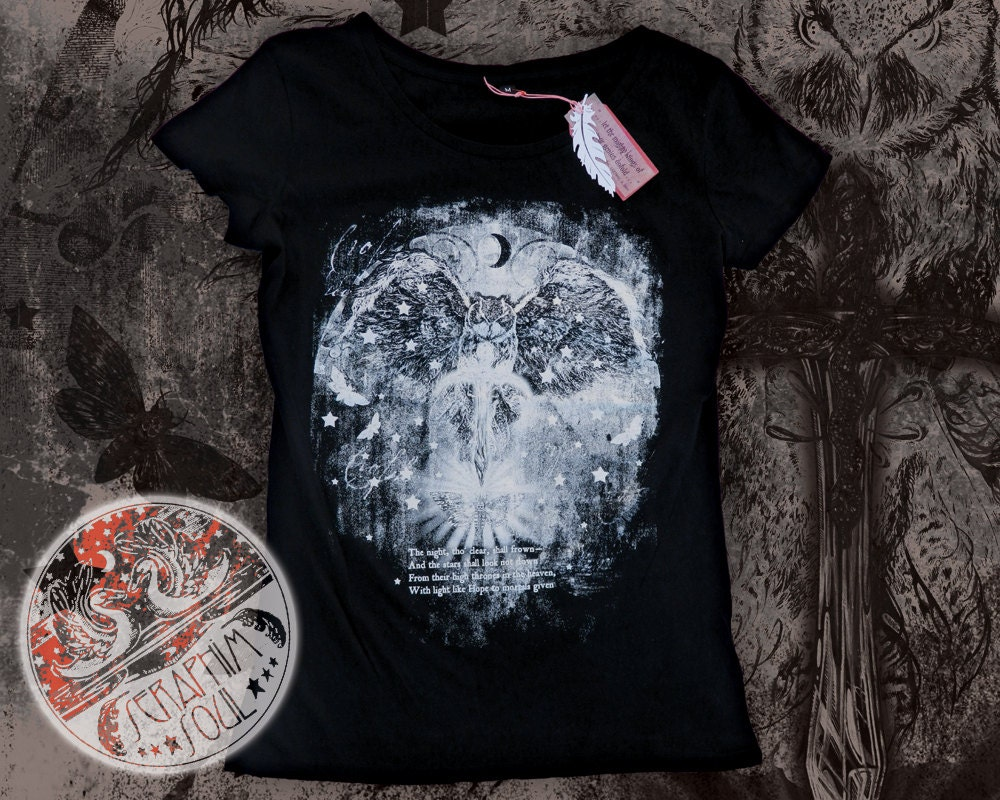 Large Limited Edition Black Gothic Emo Glow-in-the-Dark Owl  e9ba5e6a3