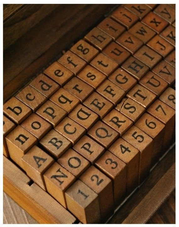 Alphabet Stamp Set Wooden Rubber Stamps Letter