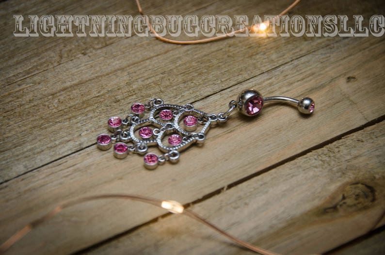 9a6564c9d Pink chandelier dangle belly ring Gifts for teen girls   Etsy