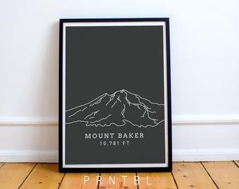 Mount Baker Washington PNW Print Modern Cascade Mountains Printable Photo Frame Pacific Northwest Seattle Lovers Wall Art Minimalist Artwork