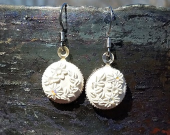White Floral Polymer Earrings
