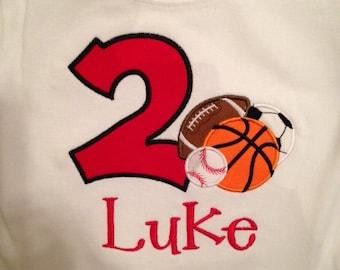 Sports Themed Birthday Shirt