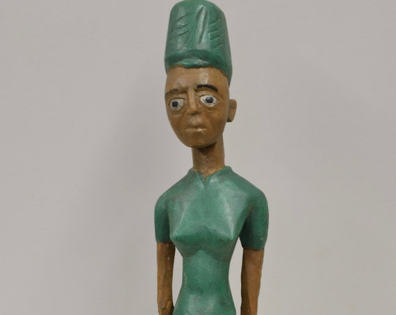 African Statue Colonial Female Figure Green Shirt Hat Female Statue