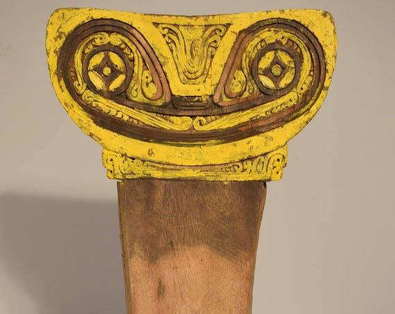 Papua New Guinea Canoe Splash Board Calvados Islands  Wood Yellow Splash Board