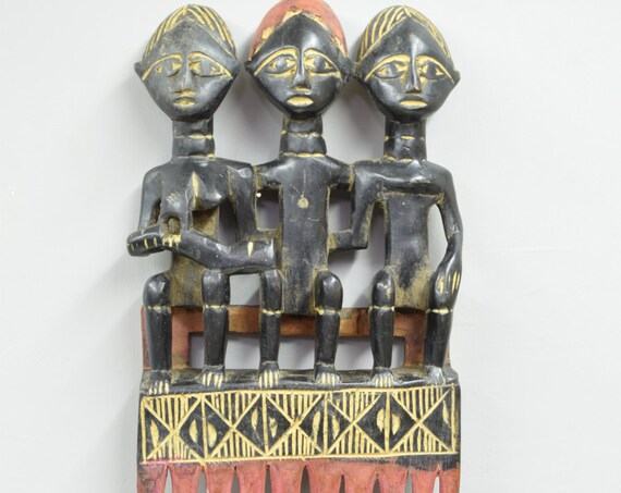 African Comb Large Ashanti Female Wood Hair Comb Ghana Handmade Wood Presitge Status Beauty Comb