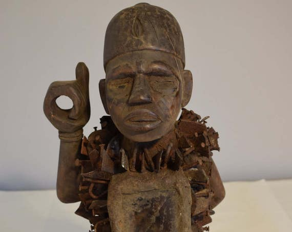 African Statue Nail Blade Fetish Bakongo Yombe Tribe Congo Handmade  Fetish  Blades Nails Mirror Power Statue