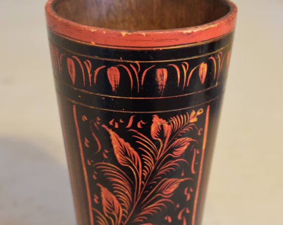 Cup Drinking Vintage Middle Eastern Rosewood Painted Lacquered Handmade Orange Black Tall Round Household Rosewood Drinking Cup
