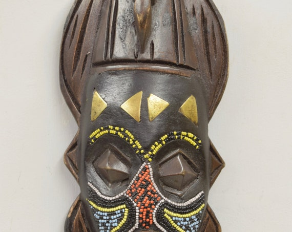 African Mask Ashanti Red Blue Beaded Bird Wood Mask Ghana Handmade Dove Bird Ceremonial Spiritual Ancestor Mask