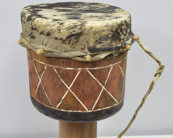 African Drum Zambia Wood Leather Handmade Carved Wood Musical Drum Dancing Ceremonial Storytelling Ritual Drum
