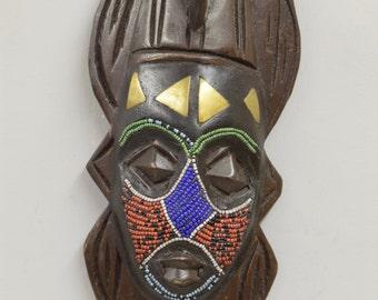 African Mask Ashanti Blue Beaded Bird Wood Mask Ghana Handmade Dove Bird Ceremonial Spiritual Ancestor Mask