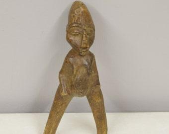 African Slingshot Lobi Carved Wood Female Slingshot Wood Burkina Faso  Handmade Doll African Toy Men Rocks Slingshot
