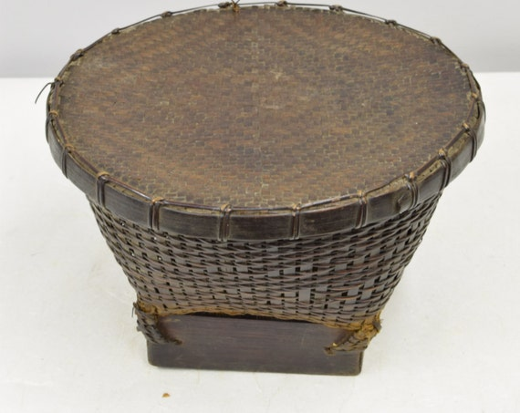 Basket Rice Basket Bamboo Rattan Lombok Indonesia Handmade Woven Rattan Lidded Basket Rice Coffee Trinkets Unique