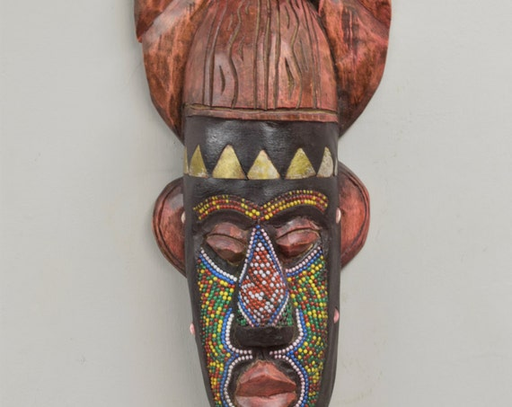African Mask Ashanti Horned Wood Brass Red Green Beaded Ghana Handmade Queen Mask Ceremonial Spiritual Ancestor Mask Unique Statement