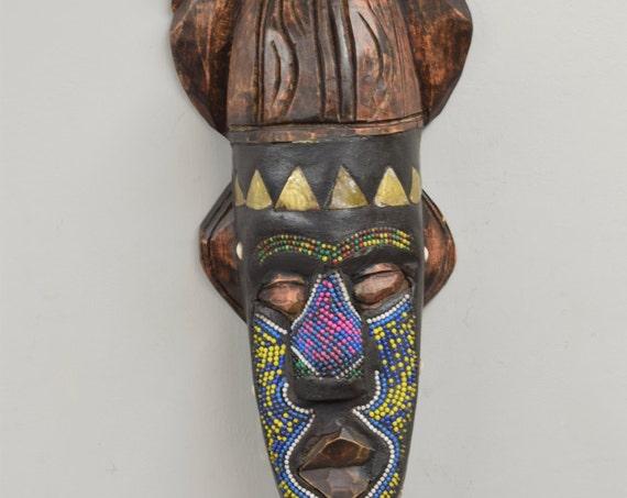 African Mask Ashanti Horned Wood Brass Pink Blue Beaded Mask Ghana Handmade Queen Mask Ceremonial Spiritual Ancestor Mask