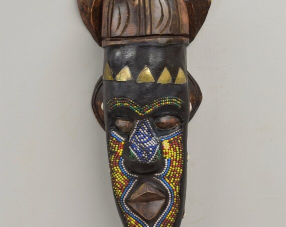 African Mask Ashanti Horned Wood Brass Blue White Beaded Mask Ghana Handmade Queen Mask Ceremonial Ancestor Mask Unique Statement
