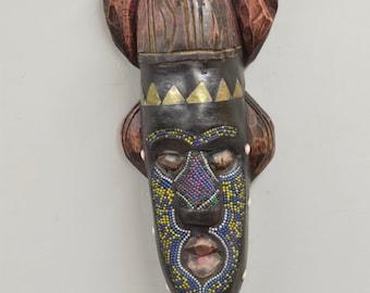 African Mask Ashanti Horned Wood Brass Blue Yellow Beaded Mask Ghana Handmade Queen Ceremonial Spiritual Ancestor Mask Unique Statement