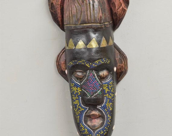 African Mask Ashanti Horned Wood Brass Blue Yellow Beaded Mask Ghana Handmade Queen Ceremonial Spiritual Ancestor Mask Unique Statement