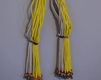 Beads African Necklace Fulani Beaded Yellow White Bells Cameroon Handmade Yellow White Tile Beads Necklace Social Status Beads