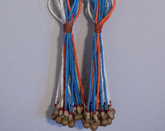 Bead African Necklace Fulani Beaded Necklace Bells Cameroon Handmade Jewelry Blue Red White Tile Beads Social Status Beads