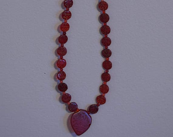 Beads Middle Eastern Red Glass Etched Gold Beads Handmade Red Symbolic Glass Jewelry Necklaces Beads