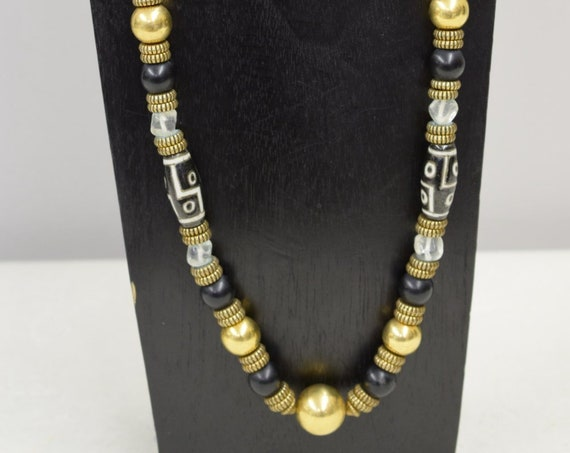 Necklace Vintage Antique Gold Beads Chinese Porcelain Black Beads Handmade Chinese Porcelain Black Crystal Gold One of a Kind Jewelry B