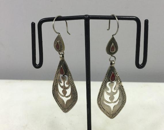 Earrings Silver Carnelian Middle Eastern Etched  Dangle Red Carnelian Stone Handmade Carnelian Sterling Silver Earrings Unique E106