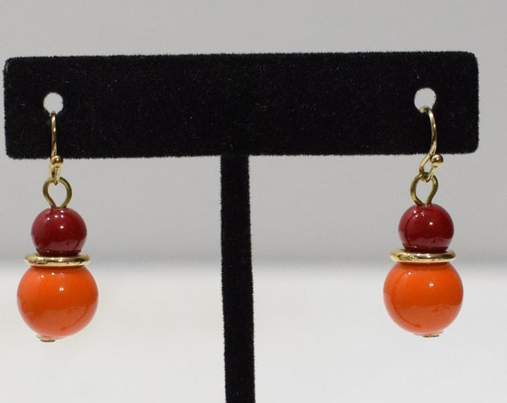Earrings Orange Red Plastic Earrings