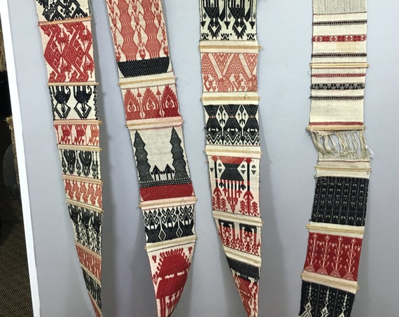 Thailand Textile Tung Woven Textile Door Wall Decoration  Black White Red Tribal Weaving
